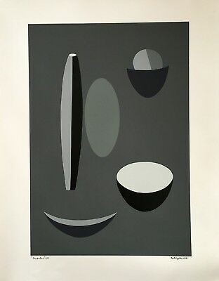 Paule Vézelay Grey picture Abstraction Silkscreen print hand signed 1935 1973