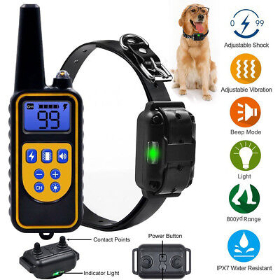 LCD Waterproof Rechargeable Remote Dog Electric Training Collar (Leather Collar)
