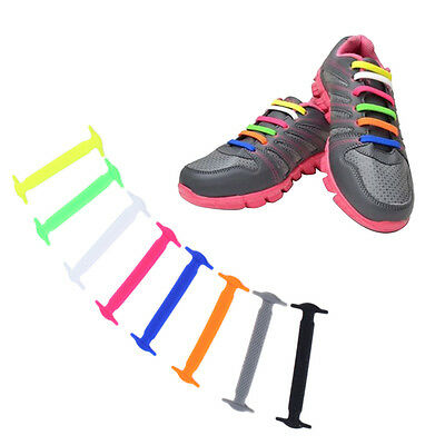 1 Set/16pcs Novelty No Tie Shoelaces Elastic Silicone Shoe Lace Unisex LOT AU