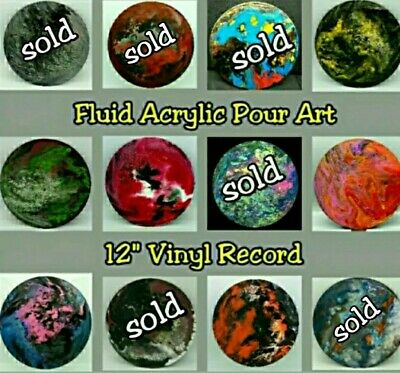 "Original Fluid Acrylic Pour Abstract Art Painting on Round 12"" Vinyl Record"