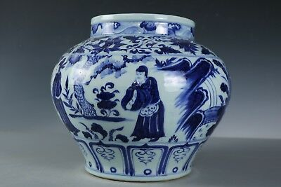 Chinese Beautiful Fine Big Blue and white Porcelain Figure Jar