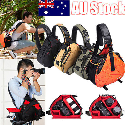 AU! Waterproof Camera Messenger Sling Shoulder Bag Case For Nikon Canon SLR DSLR