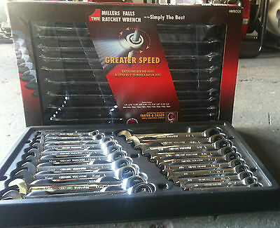 RATCHET SPANNERS SET  METRIC IMPERIAL  Millers Falls 20pc Tradesman Quality