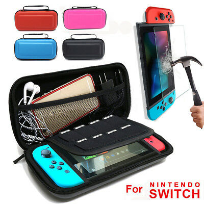 For Nintendo Switch EVA Hard Travel Bag Carrying Case Pouch &Tempered Glass Film