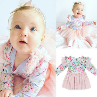 Infant Baby Girls Flower Long Sleeve Lace Tulle Dress Party Tutu Tops Dresses