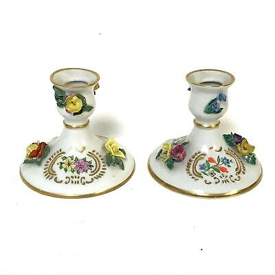 Pair of Dresden Candle Sticks with Flower Decoration