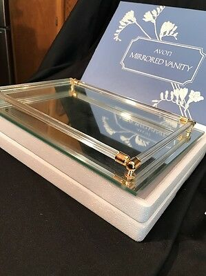 "NEW IN BOX Vintage Avon Mirrored Vanity Makeup Footed Tray 11"" X 8"" Never Used"