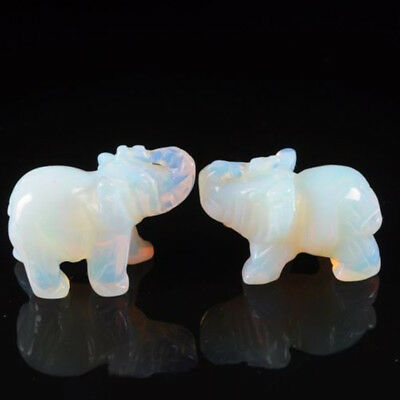 Hand Carved Elephant Crystal Opal Jade Animal Figurine Gemstone Statue 3.8cm