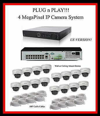 16 Ch Hikvision Nvr System, 16 Tb, 4Mp Vandal  Domes - Support! English Version!