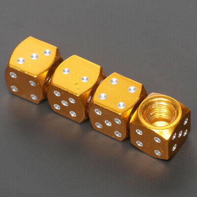 4 Pcs Yellow  Dice Style Universal Wheel Tire Valve Stems Caps Air Dust Covers