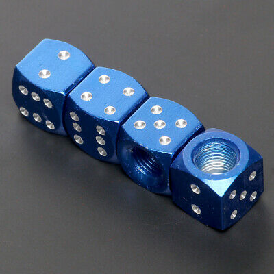 4 Pcs Blue Dice Style Universal Wheel Tire Valve Stems Caps Air Dust Covers
