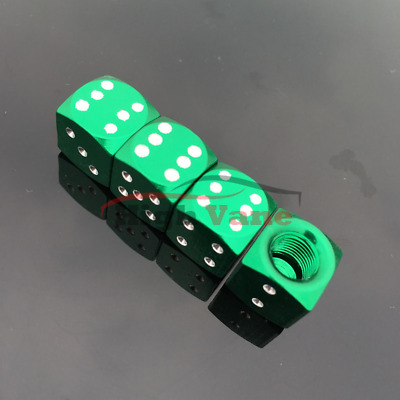4 Pcs Green Dice Style Universal Wheel Tire Valve Stems Caps Air Dust Covers