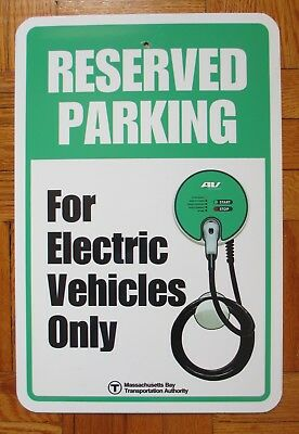 Boston T Train Bus Station Parking Reserved Sign Aluminum Electric Vehicles Only