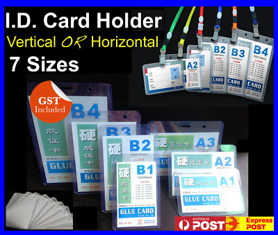 Badge ID Card Holder Pouch Name Tag For Lanyard Neck Strap Vertical Horizontal