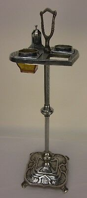 Vintage Chrome Art Deco Floor Standing Ashtray for Parts or Restoration