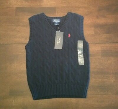 NWT - RALPH LAUREN Boy Kids Size 4 Cotton Navy Cable Knit Sweater Vest