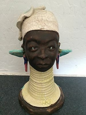 "HAROLD LANDAKER California Pottery Crackle Glaze African Queen Bust - 9"" SIGNED"