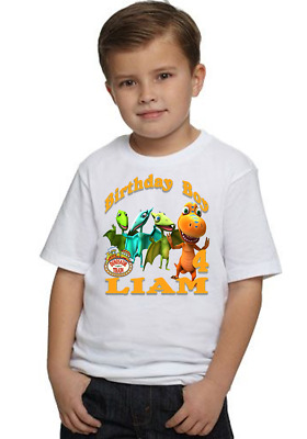 Dinosaur Train Birthday T-shirt Party Decor Tees Personalized Name Age Kids Gift