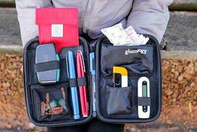 Glucology Diabetic Travel Case in Black, Blue, Pink, Red, Textured Black
