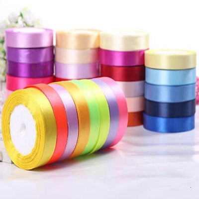 Satin Ribbon 25Yards 6 10 15 25MM Wide Multi Colours Craft Wedding Gift Wrapping