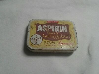 Vintage Bayer 12 Tablets Aspirin Tin