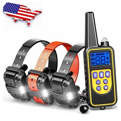 880yard Waterproof IP67 Rechargeable LCD Pet Training Shock Collar for 1/2/3 Dog