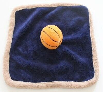Babies R Us Basketball Blue Khaki Trim Plush Security Blanket Lovey Nunu 12""