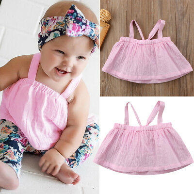 Toddler Infant Newborn Baby Girls Sleeveless T-shirt Tops Blouse Shirts Clothes