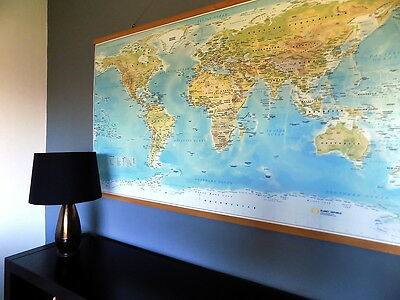 Extra Large World Map - Canvas with Beech Wood Rails