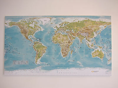 Extra large world map canvas with beech wood rails not ikea extra large world map with self assembly frame 50 x 28 inch gumiabroncs Image collections