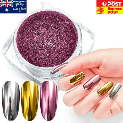 Rose Gold Nail Mirror Glitter Chrome Powder Nail Art Pigment Dust Polish