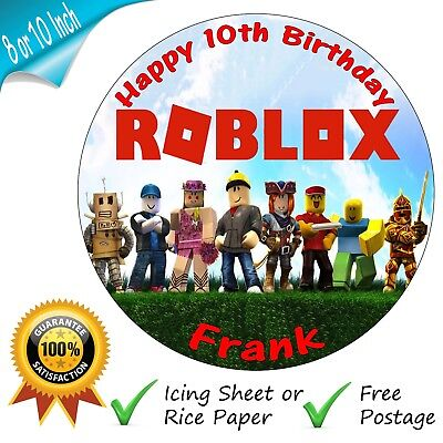 ROBLOX CAKE Topper Personalised Round Edible Birthday Cake Topper