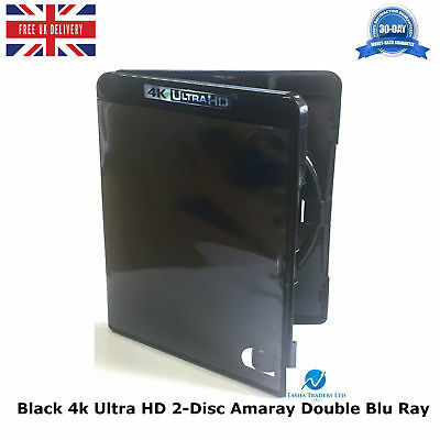 1 x Genuine Amaray Black 4k Ultra HD 14mm 2 Disc Double Blu Ray Replacement Case