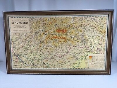 "Slovakia Map Vintage 1954 Framed 24""x 15"" Wooden Frame Ready To Hang"