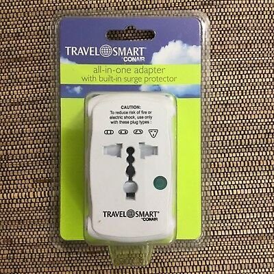 Travel Smart by ConAir All-in-One Adapter w/ Built-in Surge Protector TS237AP