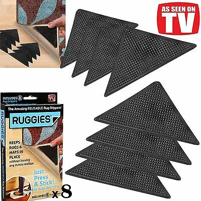 8 X Rug Carpet Mat Grippers Ruggies Non Slip Skid Reusable Washable Grips Au