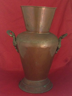 "Gorgeous Large 19"" Vintage Copper Urn Vase Umbrella Stand with Cast Iron Handles"
