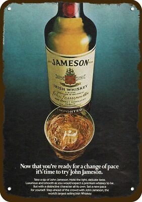 1982 JAMESON IRISH Whiskey Vintage Look Replica Metal Sign TIME FOR JOHN JAMESON