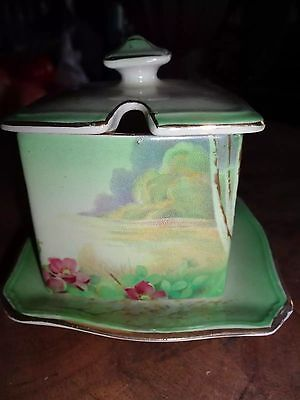 """Vintage Royal Winton Grimwades China England """"Clovelly"""" Lid Jelly Jar Underplate"""