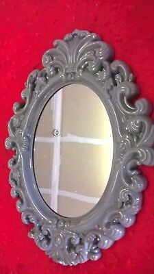 New Oval Vintage Antique Style Gray Tone Hanging Wall Mirror Plastic AC-1701