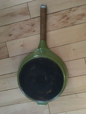 "Vintage Denmark Olive Green 10"" Cast Iron Ceramic Fry Pan White Enamel Base"