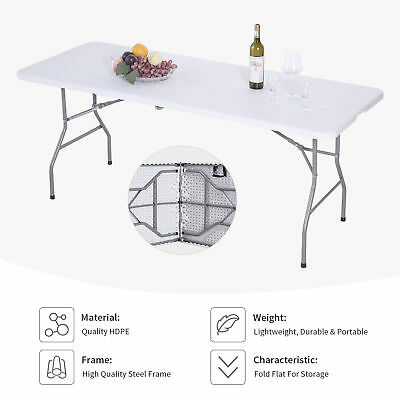 6' Portable Folding Table Plastic Indoor Outdoor Picnic Party Camp Dining Tables