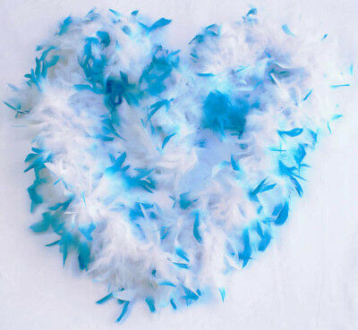 80g 2 Tone Feather Boa White/Turquoise, 1.9m long, thumb loops, full bodied
