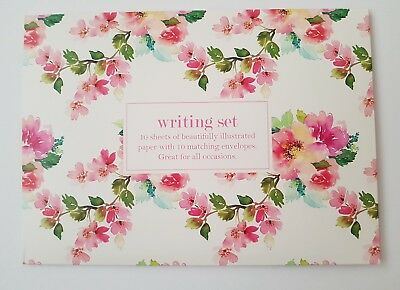 Floral/flowers Writing Set-10 Sheets Paper/envelopes/note Paper Gift-Pink/white