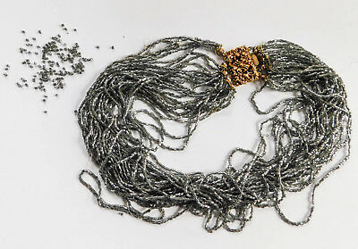GM Signed Gray Multi Strand Italy Seed Bead Choker Necklace Parts A121