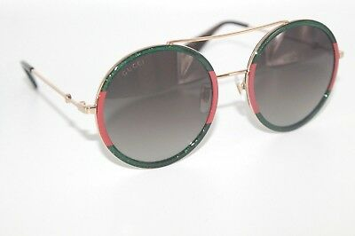 GUCCI Womens Sunglasses GG0061S 008 Gold/Green/Red Frame W/ Grey Gradient Lens