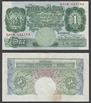 Great Britain 1 Pound 1955-60 (VF+) Condition Banknote P-369c (U01K)