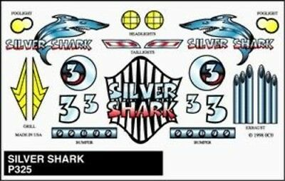 Pine-Car Pinewood Derby Silver Shark Stick-On Decal - Pinewood Derby Decal