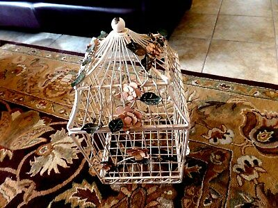 Antique French Victorian Iron Bird Cage Dome Lift Top Toleware rose spra spiral