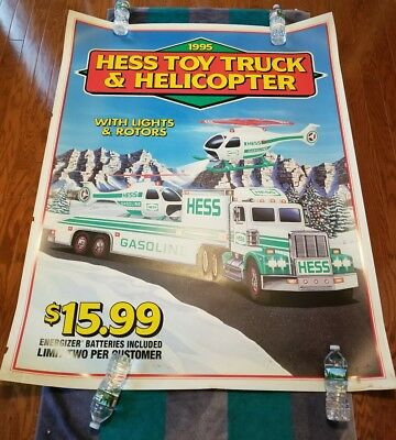 HESS 1995 POSTER SIGN FOR THE HELICOPTER & TRUCK - 58 IN. by 46 IN